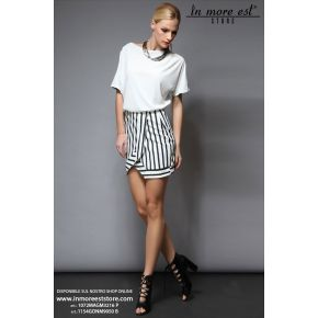 PORTFOLIO SKIRT BLACK AND WHITE STRIPES CUTS DIAG DAV