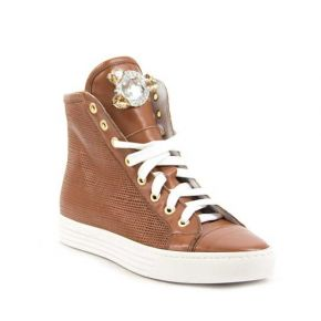 SNEAKERS WITH INNER WEDGE LEATHER BROOCH STONES