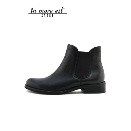 THE BEATLES BLACK CALF ELASTIC AT THE ANKLE, THE BOTTOM LEATHER BLACK