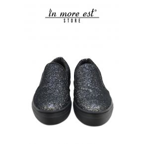 SLIP ON A TOE-GLITTER-ARG/BLACK BOTTOM CREPE RUBBER BLACK