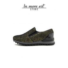 RUNNING GOLD GLITTER ELASTIC WITHOUT LACES-TOURISM CARARMATO STRAIGHT