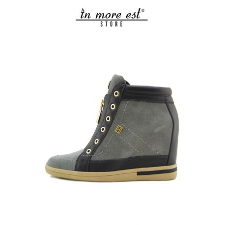 HIGH-TOP SNEAKERS INNER WEDGE BLUE/GRAY SUEDE/LEATHER ALLACC ZIP METAL GOLD BOTTOM RUBBER DOVE GREY