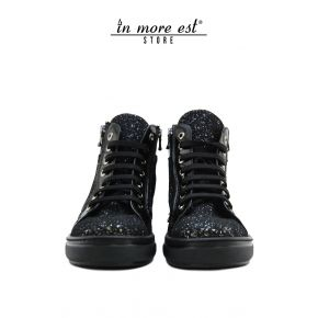 SNEAKERS WITH WEDGE HEEL BLACK GLITTER AND BLACK PATENT LEATHER BOTTOM RUBBER PARA BLACK