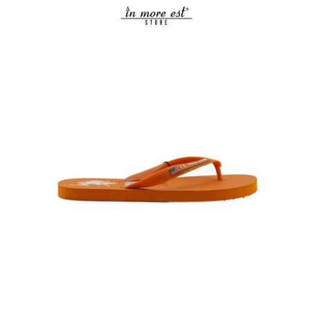 FLIP FLOPS MER ORANGE CAOUTCHOUC LOGO DE L'US POLO