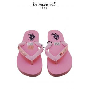 FLIP FLOPS SEA PINK RUBBER LOGO US POLO