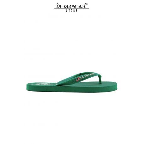 FLIP-FLOPS WITH SEA GREEN RUBBER LOGO US POLO