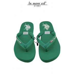 FLIP-FLOPS WITH SEA GREEN RUBBER LOGO US POLO