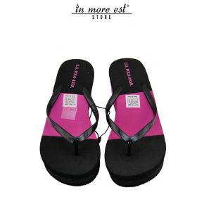 FLIP FLOPS SEA WEDGE BLACK/PINK TWO-TONE RUBBER