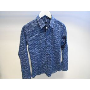 SHIRT ELAST BLUE FLOWERS COTTON