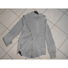 SWEAT-SHIRT GRIZIA ZIP TRASFERSALI MANCHES ZIP AMOVIBLE