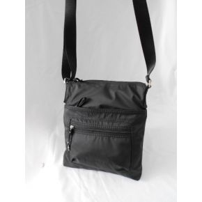 FLAP/SHOULDER BAG BLACK NYLON ZIP VARIOUS METAL SILVER