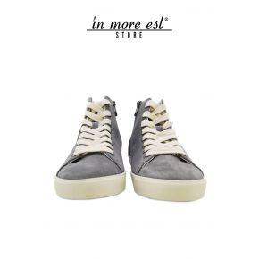 HIGH-TOP SNEAKERS GRAY SUEDE BOTTOM CREPE RUBBER/LACE-UP BEIGE