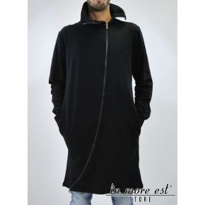 BLACK SWEATSHIRT, LONG ZIP TRASFERSALE