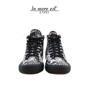 SNEAKERS BLACK LEATHER PRINT MOA ART FUND CREPE RUBBER BLACK