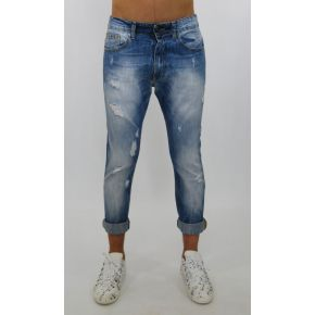 JEANS LAVAG LIGHT BLUE POCKET FILLED RIPPED (POCKET MODIFIED DAMASK AZZ/MARR)