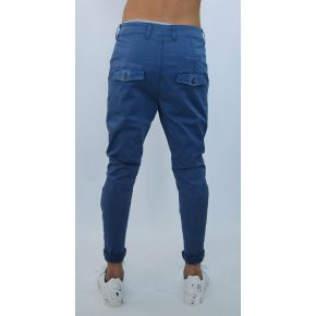 PANTS ELAST-CROTCH INDIGO AZZ BELLOW POCKETS COTTON
