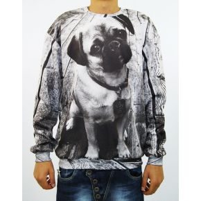 SWEATSHIRT SINT GREY DOG CREW NECK