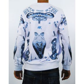 SWEATSHIRT CREW NECK PRINT BLUE COTTON
