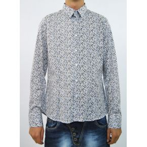 SHIRT ELAST BLUE DOTTED WHITE COTTON