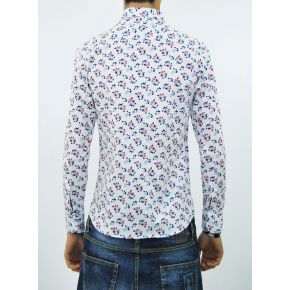 SHIRT ELAST WHITE FLOWERS, RED AND BLUE COTTON