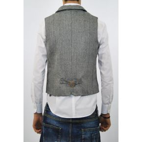 VEST GRAY/BLACK STRIPED PATTERN WOOL BLACK BUTTONS