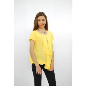 KNIT HALF SLEEVES YELLOW RUFFLES IN FRONT, ELASTIC BOTTOM
