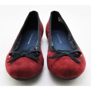 BALLERINA BOW SUEDE BURGUNDY BLACK BORDER