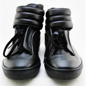 HIGH-TOP SNEAKERS BLACK CALF LACE-UP AND BUCKLE STRAP