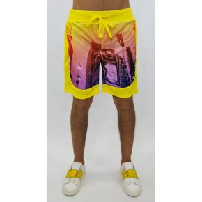 SHORTS POLY YELLOW YUPPIES NY PRINT