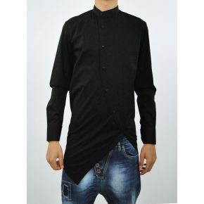 SHIRT KOREAN DIAGONAL BLACK COTTON