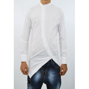 SHIRT KOREAN DIAGONAL WHITE COTTON