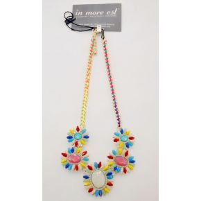 FLOWER NECKLACE WITH MULTICOLOR STONES
