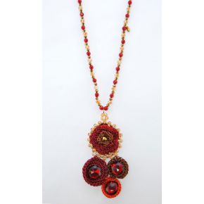LONG NECKLACE RED BORDEAUX WITH PENDANT STONES