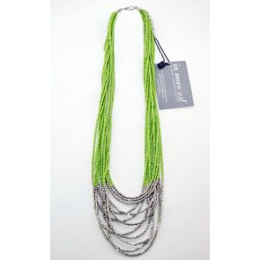 GREEN NECKLACE MULTI-STRAND LONG