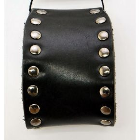 BRACELET BLACK LEATHER WITH STUDS SILVER