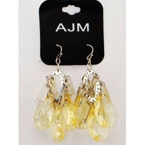 EARRINGS PENDANTS YELLOW SEMI-TRANSPARENT