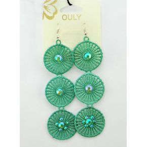 EARRINGS PENDANTS IN EMBROIDERY GREEN