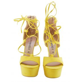 SANDAL WITH HEEL AND PLATEAU YELLOW SUEDE ALTRAMAREA