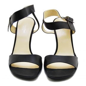 SANDAL MEDIUM BLACK CALF BUCKLE METAL FRAME