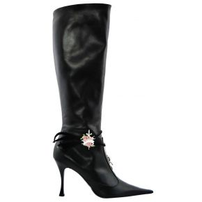 THE BOOT TO THE TOE WITH HEEL CALFSKIN BLACK ACCESSORY METAL ARG