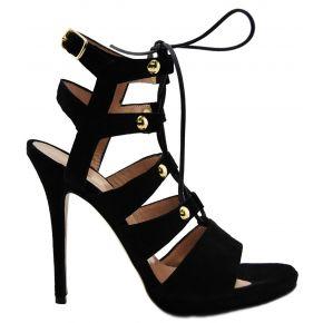 Sandalo nero con tacco Lea Gu in camoscio