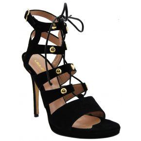 Schwarze sandale mit heel Lea Gu wildleder