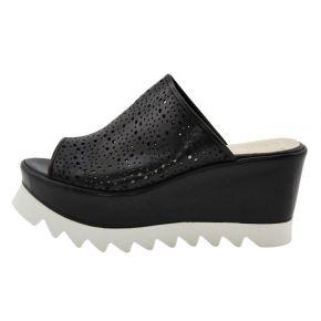 Sandalo Zeppa con cararmato Lea Gu nero e bianco