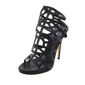 Sandalo nero con tacco Lea Gu in pelle traforata