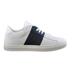 Sneakers bassa bianca e blu Lea Gu in pelle