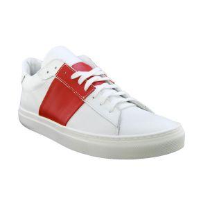 Sneakers bassa bianca e rossa Lea Gu in pelle
