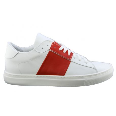 Sneakers low-rot-weiß-Lea Abl leder