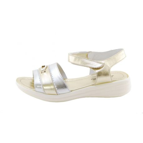 SANDAL CALF LAMIN GOLD/ARG BOTTOM RUBBER CREAM G LOGO METAL ARG