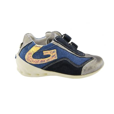 SNEAKER LOW-BLUE FABRIC LAMINATE ARG SPECCH ALLAC STRAP THE BOTTOM OF THE RUBBER WHITE G LOGO