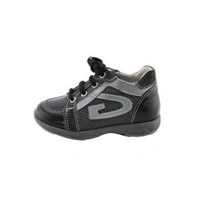 SNEAKER LOW-BLACK CALF/GREY FABRIC GREY BOTTOM GREY RUBBER ALLACC G LOGO